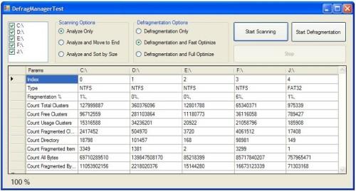Capture d'écran Defrag Manager ActiveX