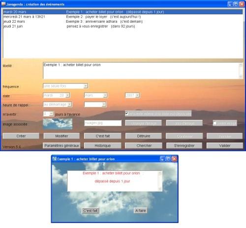 Capture d'écran Javagenda Mac