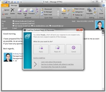 Capture d'écran CodeTwo Outlook Reply All Reminder