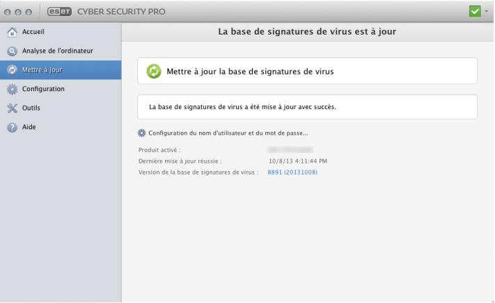 Capture d'écran ESET Cybersecurity Pro