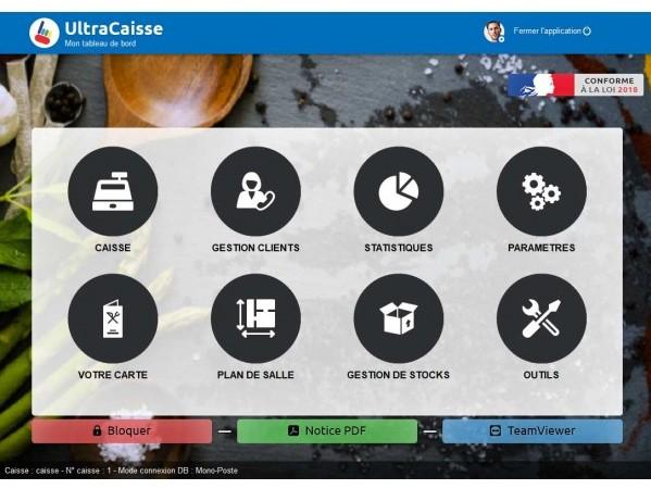 Capture d'écran Logiciel de caisse restaurant UltraCaisse 2018