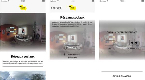 Capture d'écran Jeunes et Médias VR iOS