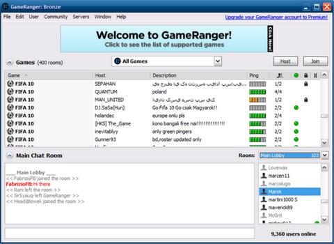Capture d'écran GameRanger