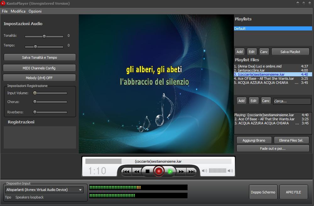 Capture d'écran Kanto Karaoke Player