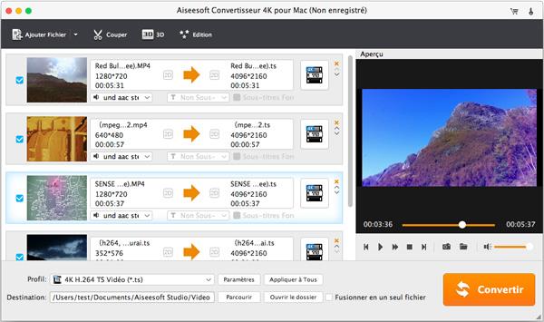 Capture d'écran Aiseesoft Convertisseur 4K pour Mac
