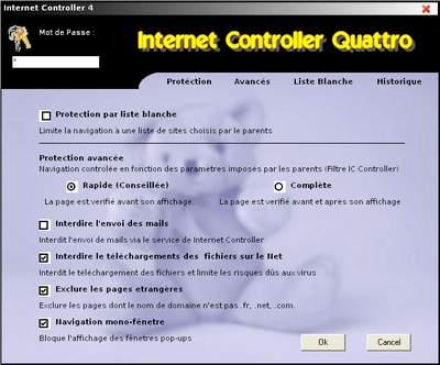 Capture d'écran Internet Controller Quattro