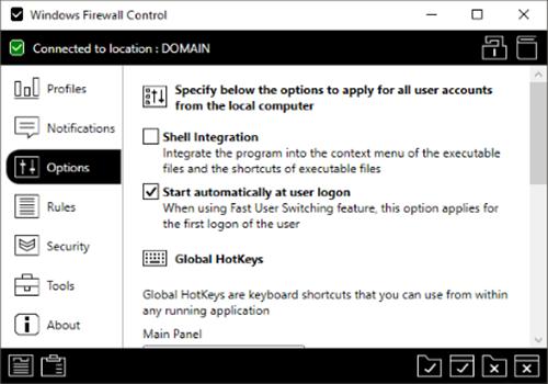 Capture d'écran Windows Firewall Control