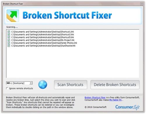 Capture d'écran Broken Shortcut Fixer
