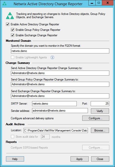 Capture d'écran Netwrix Change Notifier for Active Directory, 2014