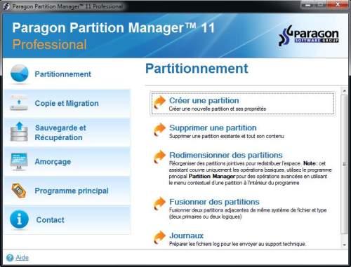 Capture d'écran Partition Manager 14
