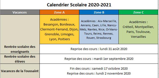 Capture d'écran Calendrier vacances scolaires 2020-2021