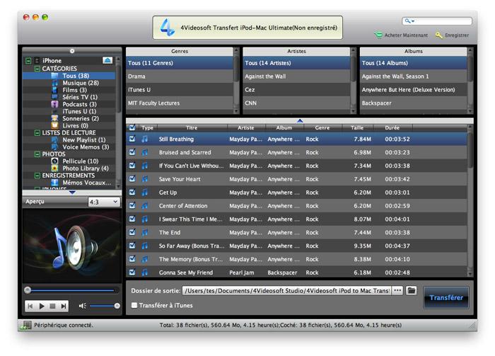 Capture d'écran 4Videosoft Transfert iPod-Mac Ultimate