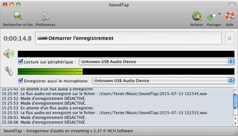 Capture d'écran SoundTap – Enregistrement streaming audio gratuit pour Mac