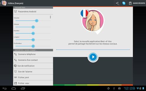 Capture d'écran Voix Hélène (français)
