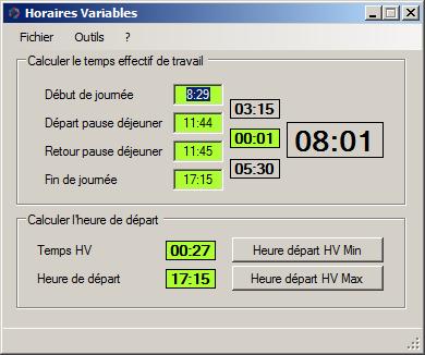 Capture d'écran Horaires Variables