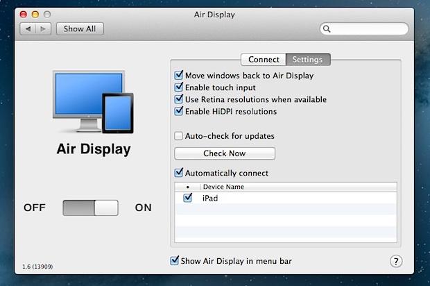 Capture d'écran Air Display