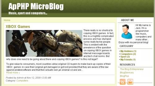 Capture d'écran ApPHP MicroBlog – web blog PHP script