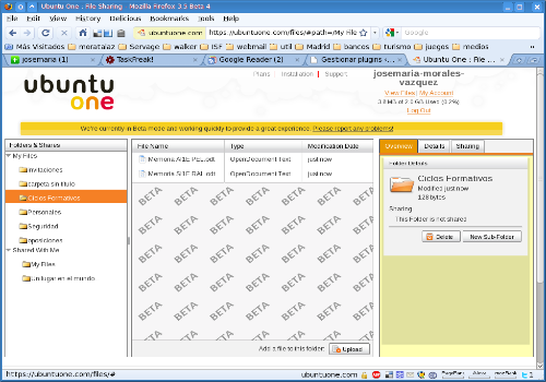Capture d'écran Ubuntu One