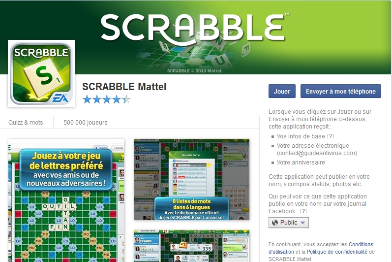 Capture d'écran Scrabble Facebook