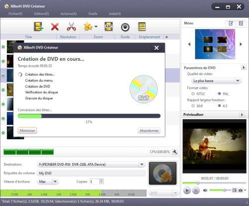 Capture d'écran Xilisoft DVD Créateur