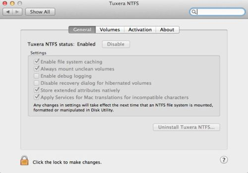 Capture d'écran Tuxera NTFS for Mac 2018.02