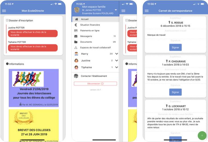 Capture d'écran Mon EcoleDirecte iOS