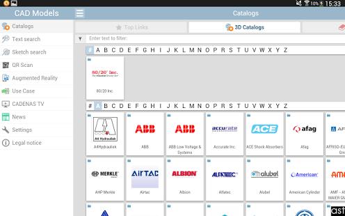 Capture d'écran Modèles CAO 3D fabricants