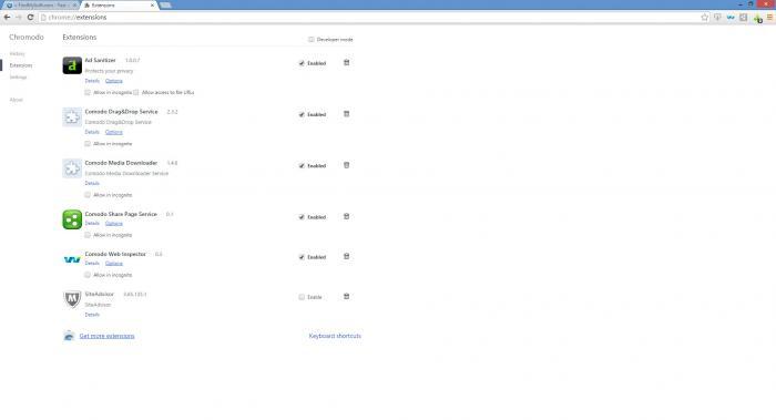 Capture d'écran Comodo Chromodo