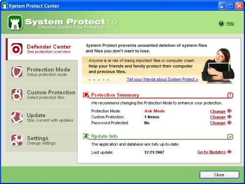 Capture d'écran System Protect