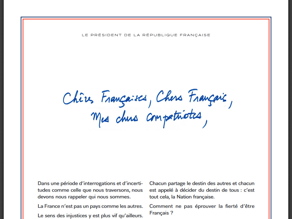Capture d'écran Lettre de Macron PDF