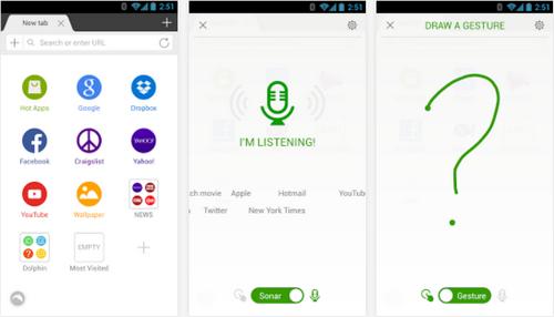 Capture d'écran Dolphin Browser Android