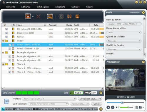Capture d'écran mediAvatar Convertisseur MP4