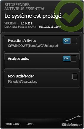 Capture d'écran Bitdefender Antivirus Essential
