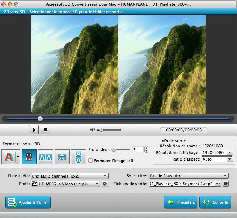 Capture d'écran Aiseesoft 3D Convertisseur pour Mac