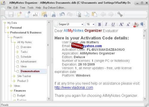 Capture d'écran AllMyNotes Organizer FREE Edition