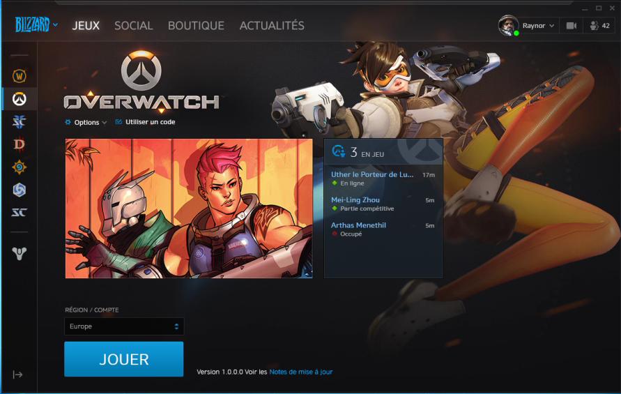Capture d'écran Battle.net Mac