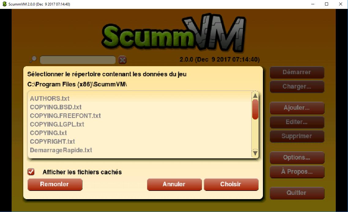 Capture d'écran ScummVm