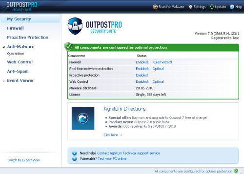 Capture d'écran Agnitum Outpost Security Suite Pro