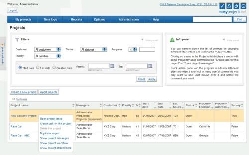 Capture d'écran Easy Projects .NET