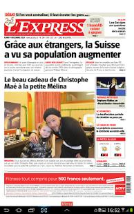 Capture d'écran L'Express journal