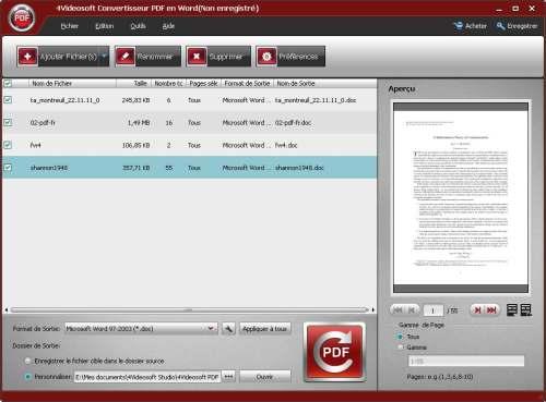 Capture d'écran 4Videosoft Convertisseur PDF en Word