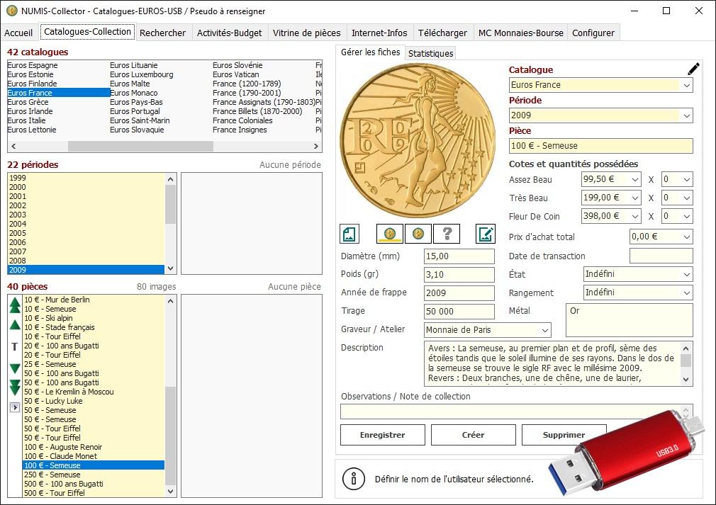 Capture d'écran NUMIS-Collector