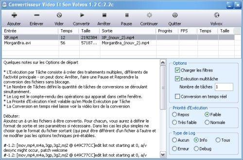 Capture d'écran CVSV Conversion Vidéo et Son Volvox