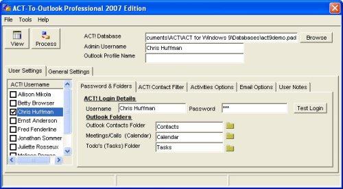 Capture d'écran ACT-To-Outlook Professional – 2007