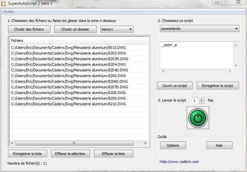 Capture d'écran SuperAutoScript (SAS)