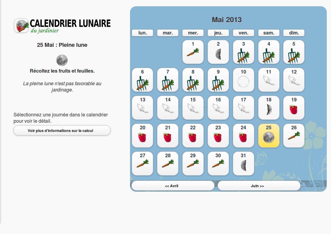 Capture d'écran Calendrier Lunaire du jardinier Android