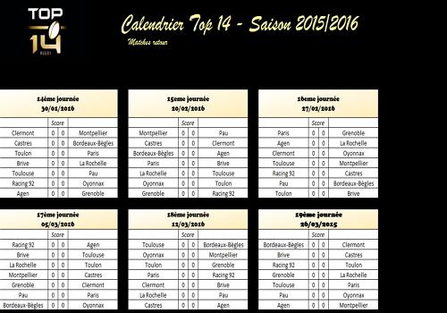 Capture d'écran Calendrier Top 14 2015-2016