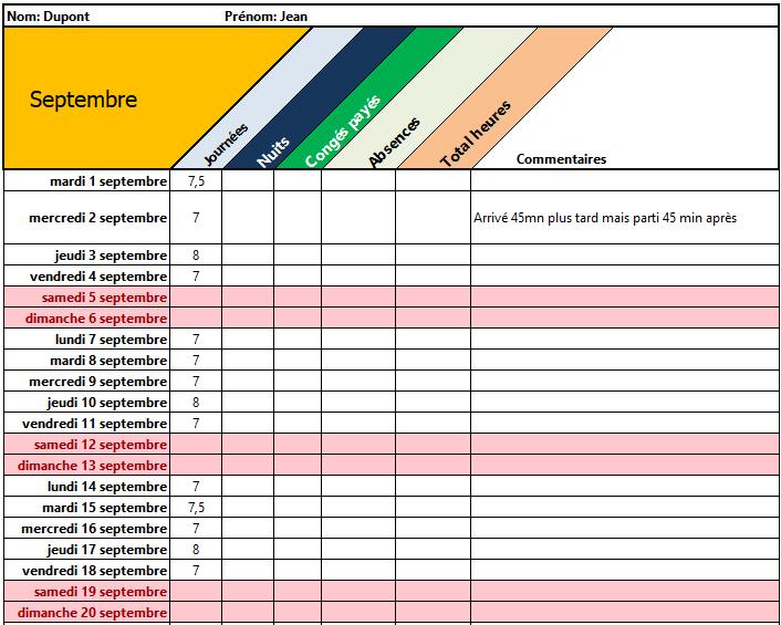 Capture d'écran Calcul des heures de travail Excel