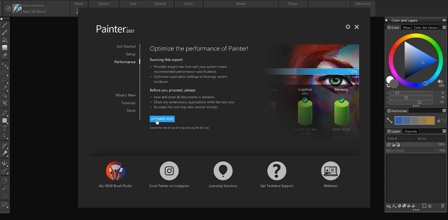 Capture d'écran Corel Painter 2021