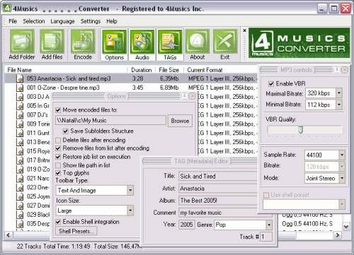 Capture d'écran 4Musics WMA Bitrate Changer